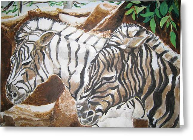 Greeting Card featuring the painting At The Zoo by Julie Todd-Cundiff