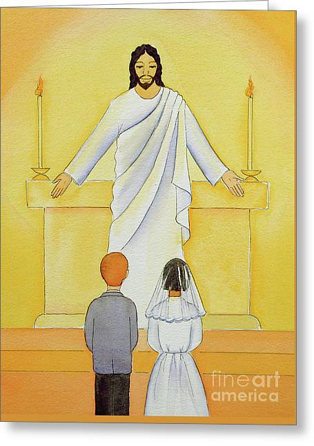 At Their First Holy Communion Children Meet Jesus In The Holy Eucharist Greeting Card
