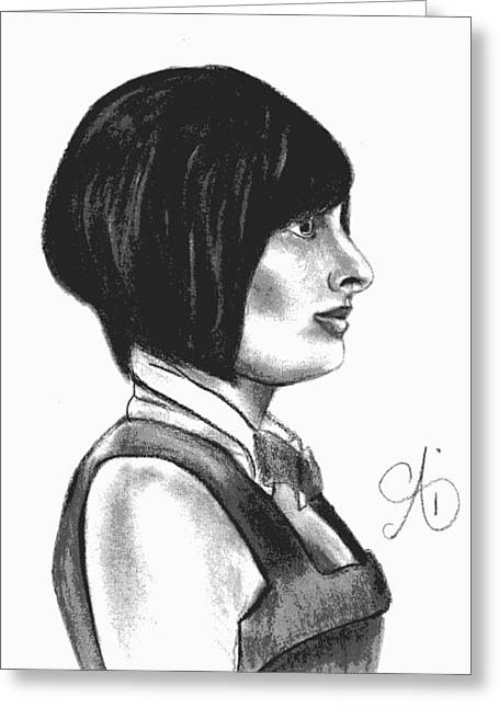 At Your Service - Bartender Art - Charcoal Drawing Illustration By Ai P. Nilson  Greeting Card