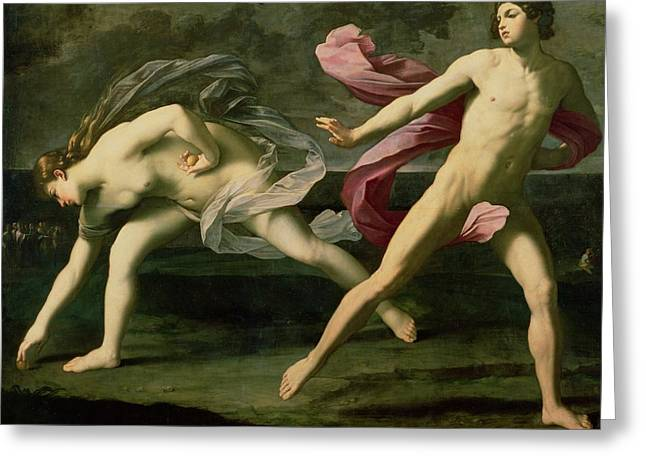 Fable Greeting Cards - Atalanta and Hippomenes Greeting Card by Guido Reni