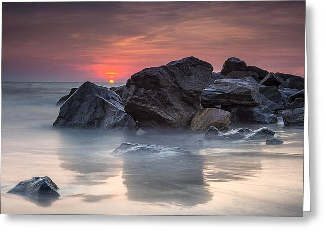 Atardecer En La Playa Greeting Card by Edward Kreis