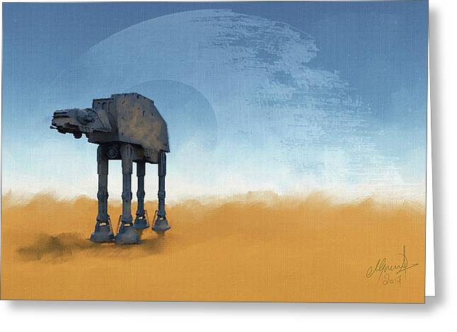 Atat And Death Star Over Tattooine Greeting Card