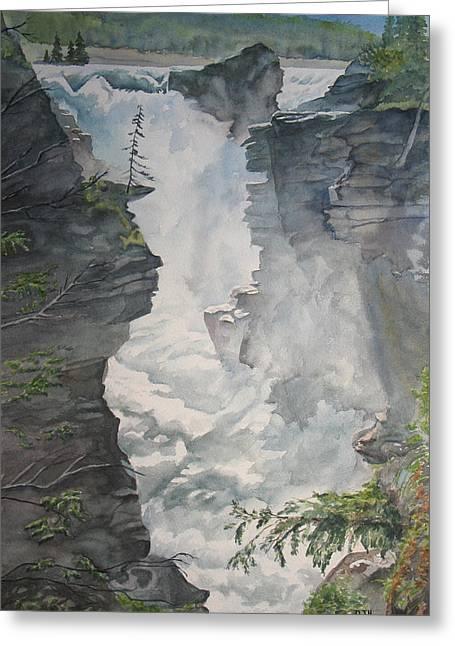 Athabasca Falls Alberta Greeting Card by Debbie Homewood