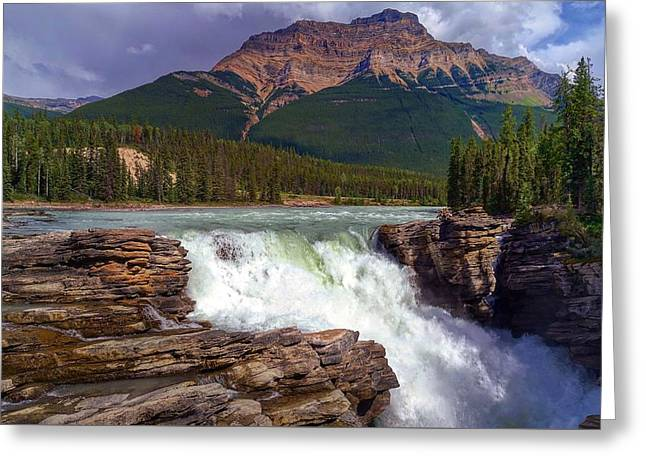 Athabasca Falls Greeting Card by Heather Vopni