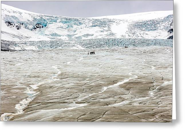 Athabasca Glacier With Guided Expedition Greeting Card by Pierre Leclerc Photography