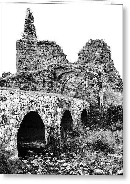 Athassel Priory Irish Medieval Abbey Ruins Bridge And Gatehouse Arches Tipperary Black And White Greeting Card by Shawn O'Brien