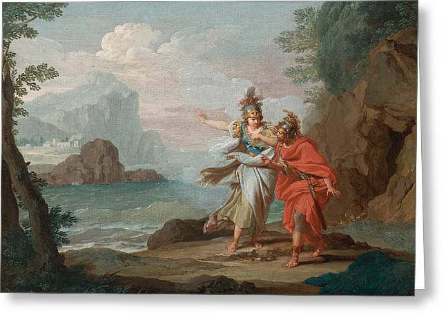 Athena Appearing To Odysseus To Reveal The Island Of Ithaca Greeting Card