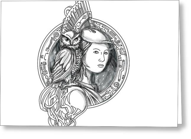 Athena With Owl On Shoulder Electronic Circuit Circle Tattoo Greeting Card by Aloysius Patrimonio