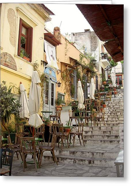Athens Cafe Greeting Card