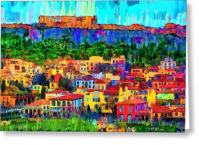 Athens Cityscape - Pa Greeting Card by Leonardo Digenio