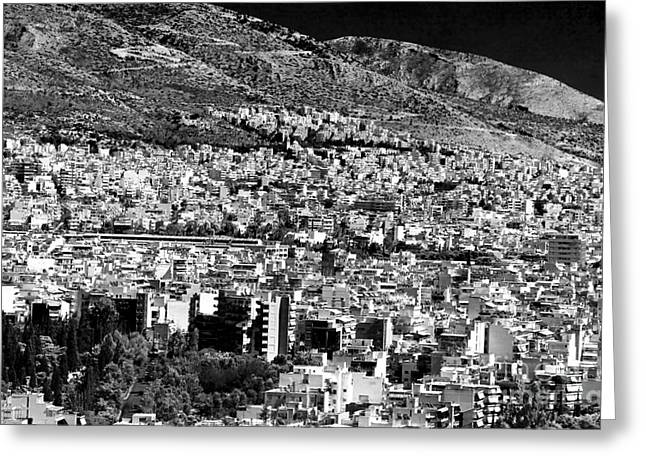 Athens Cityscape Vi Greeting Card by John Rizzuto