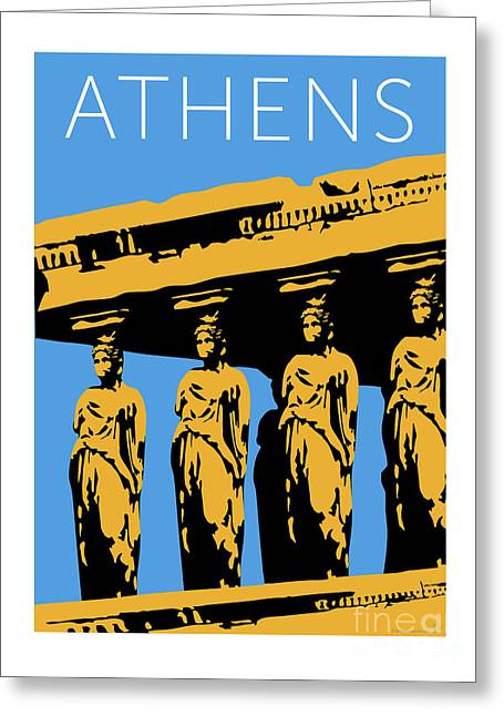 Greeting Card featuring the digital art Athens Erechtheum Blue by Sam Brennan
