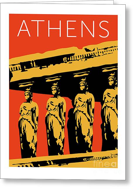 Greeting Card featuring the digital art Athens Erechtheum Orange by Sam Brennan