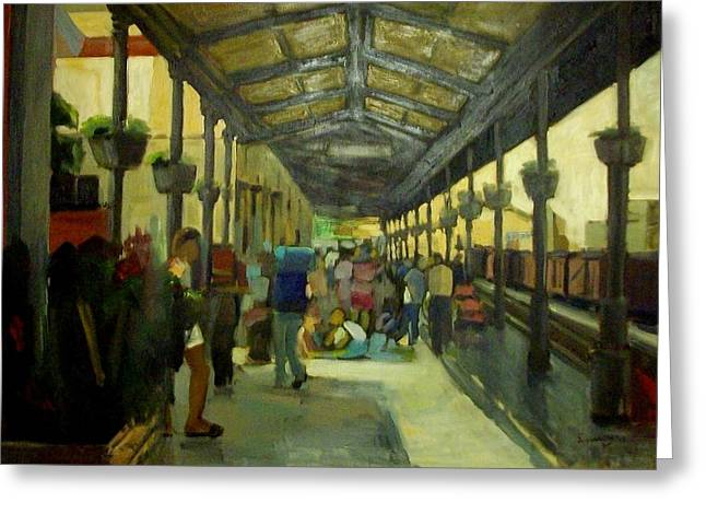 Athens Larissa Railway Station Greeting Card by George Siaba