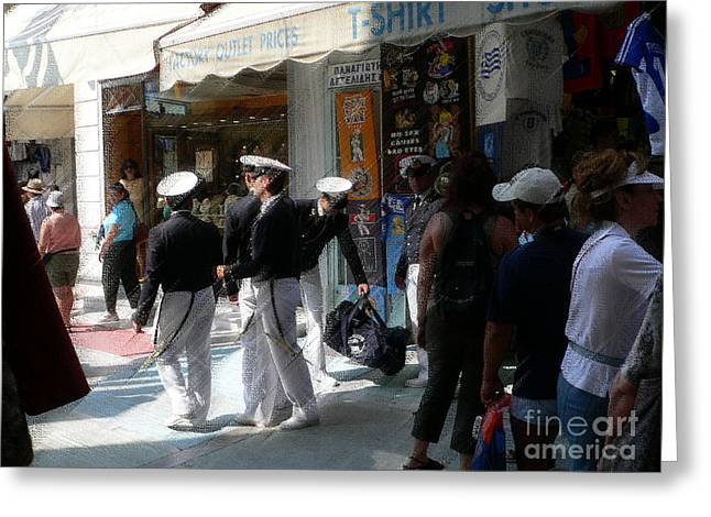 Athens Sailors Greeting Card by David Bearden