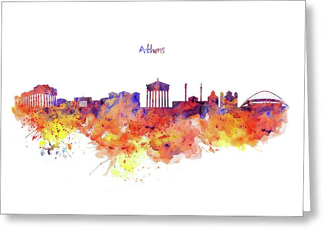 Athens Skyline Greeting Card by Marian Voicu
