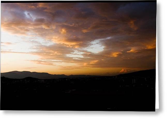 Athens Sunset Greeting Card by Julia Bridget Hayes