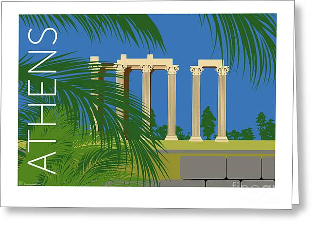 Greeting Card featuring the digital art Athens Temple Of Olympian Zeus - Blue by Sam Brennan
