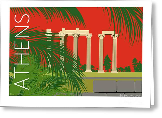 Greeting Card featuring the digital art Athens Temple Of Olympian Zeus - Orange by Sam Brennan
