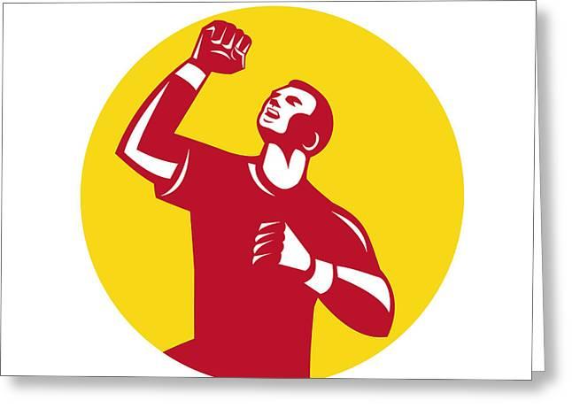 Athlete Fist Pump Circle Retro Greeting Card by Aloysius Patrimonio