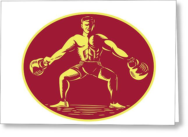 Athlete Lifting Kettlebell Oval Woodcut Greeting Card by Aloysius Patrimonio