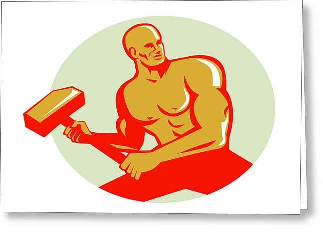 Athlete With Sledgehammer Training Oval Retro Greeting Card by Aloysius Patrimonio