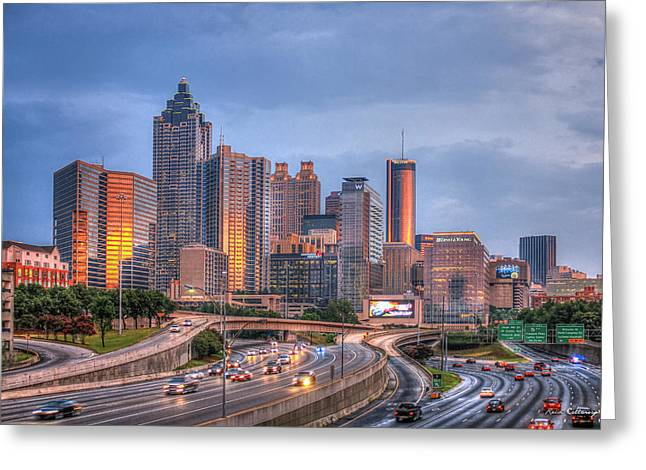 Atlanta 4 Downtown Cityscape Sunset Art Greeting Card