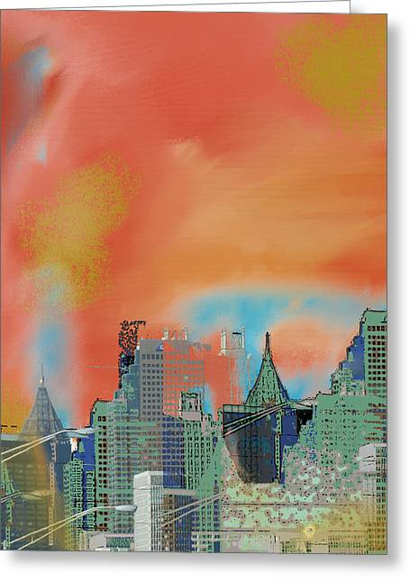 Atlanta Abstract After The Tornado Greeting Card by Ann Tracy