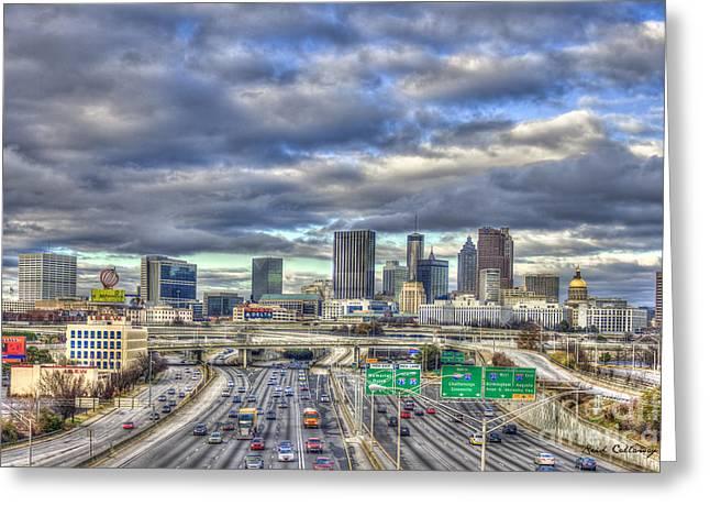 Atlanta The Beautiful Cityscape South Looking North Atlanta Skyline Art Greeting Card