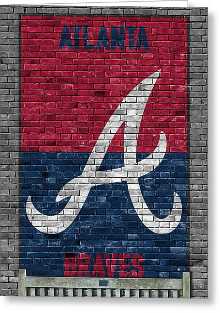Atlanta Braves Brick Wall Greeting Card by Joe Hamilton