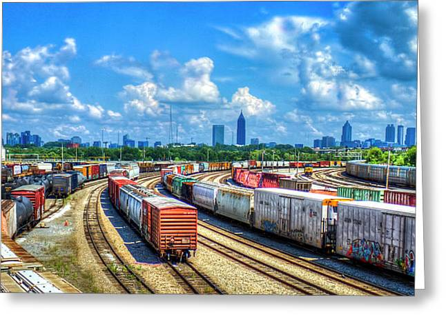 Atlanta Cityscape Train Park Art Greeting Card