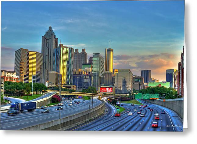 Greeting Card featuring the photograph Atlanta Coca-cola Sunset Reflections Art by Reid Callaway