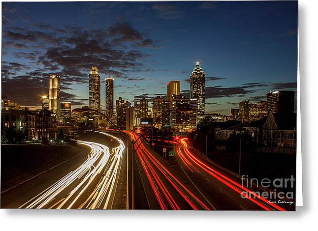 Greeting Card featuring the photograph Atlanta Downtown Infusion Atlanta Sunset Cityscapes Art by Reid Callaway
