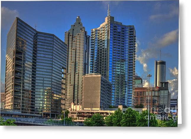 Atlanta Downtown Skyline Reflections Greeting Card by Reid Callaway