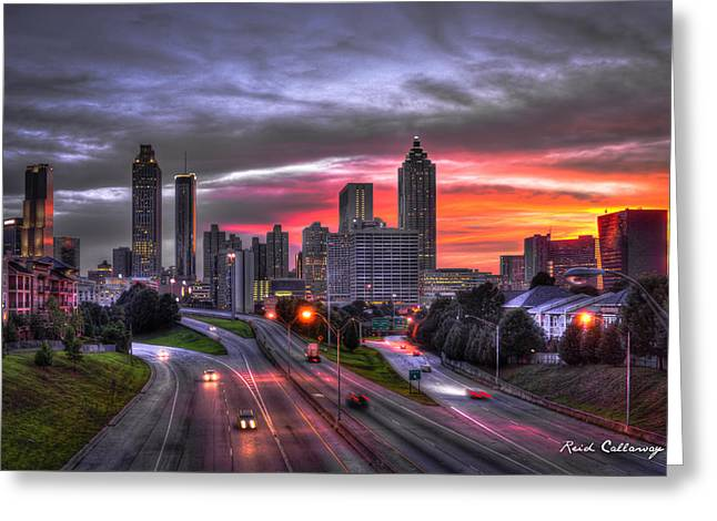 Atlanta Downtown Sunset Art Greeting Card by Reid Callaway