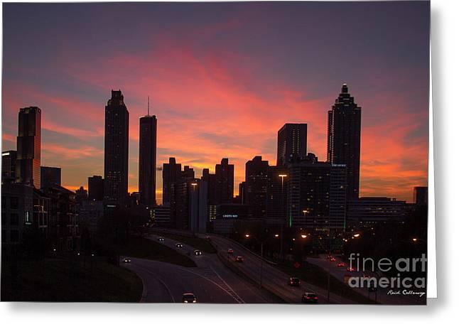 Atlanta Fire Downtown Cityscape Art Greeting Card