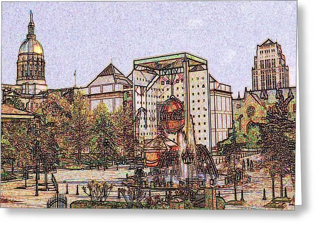 Atlanta Georgia Usa - Color Pencil Greeting Card