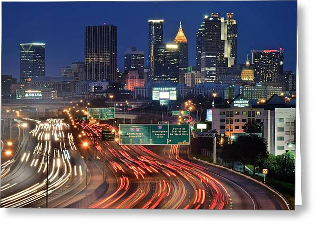 Atlanta Heavy Traffic Greeting Card by Frozen in Time Fine Art Photography