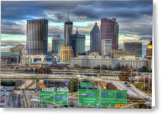 Greeting Card featuring the photograph Atlanta Moving On Skyline Cityscape Art by Reid Callaway