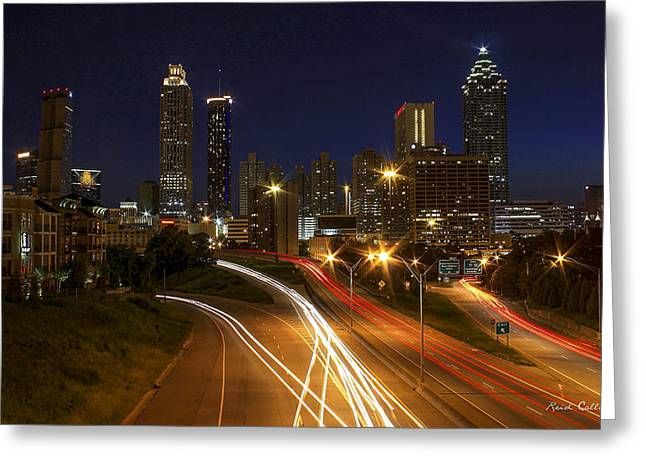 Atlanta Night Lights Atlanta Cityscape Art Greeting Card by Reid Callaway