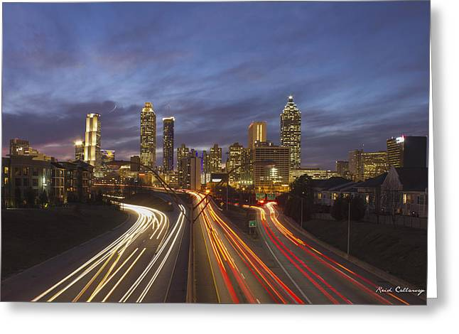 Atlanta Night Lights Sunset Cityscape Skyline Art Greeting Card by Reid Callaway