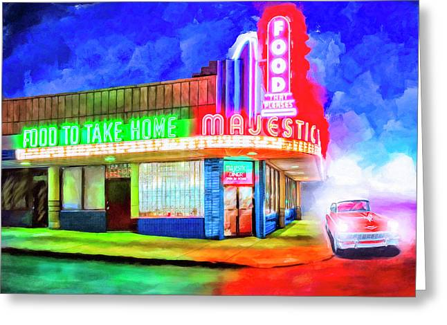 Greeting Card featuring the mixed media Atlanta Nights - The Majestic Diner by Mark Tisdale