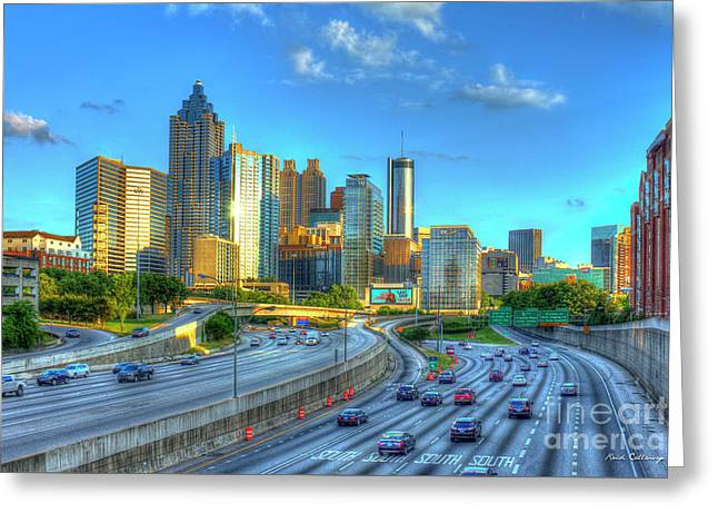 Atlanta Postcard Downtown Atlanta Sunset Art Atlanta Georgia Greeting Card by Reid Callaway