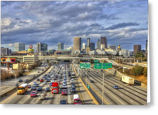 Atlanta Racing The School Bus Transportation Art Greeting Card by Reid Callaway