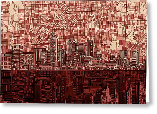 Atlanta Skyline Abstract Deep Red Greeting Card