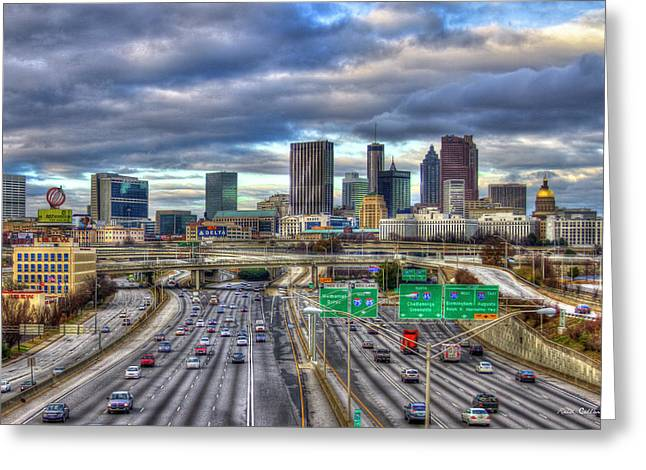Atlanta Skyline Cityscape 3 Downtown Atlanta Art Greeting Card by Reid Callaway