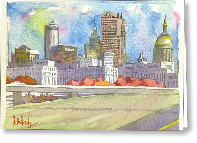 Atlanta Skyline Color Greeting Card by Scott Serafy