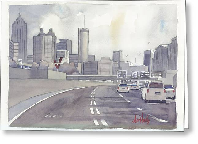 Atlanta Skyline Grey Southward Greeting Card by Scott Serafy