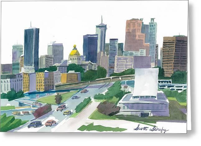 Atlanta Skyline With State Capitol Greeting Card by Scott Serafy