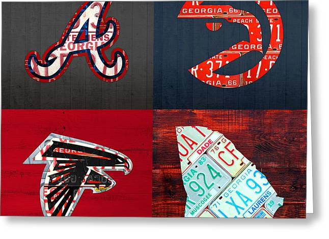 Atlanta Sports Fan Recycled Vintage Georgia License Plate Art Braves Hawks Falcons Plus State Map Greeting Card by Design Turnpike